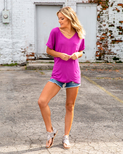 The Better Basic V-Neck - Magenta