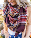 The Perfect Blanket Scarf - Mustard/Burgundy