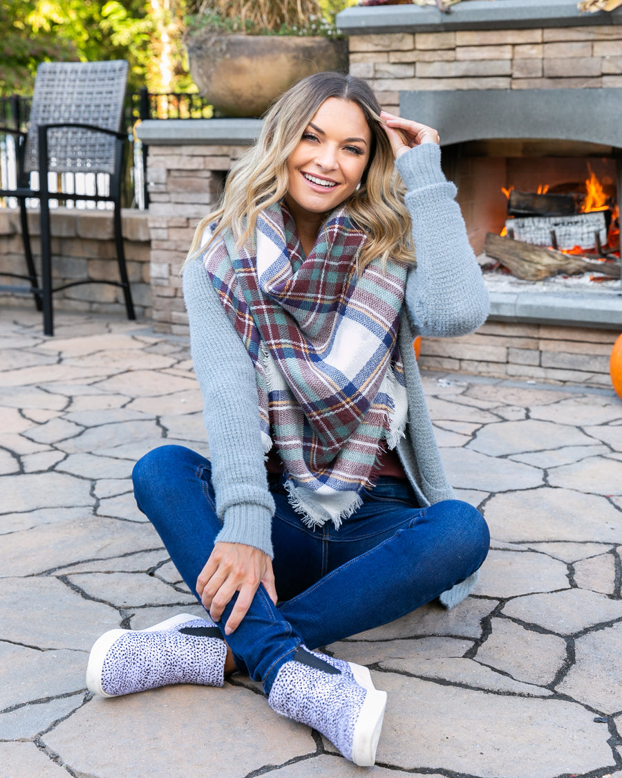 The Perfect Blanket Scarf - Navy/Wine