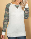 The Best Part Color-Block Camo Top - Light Grey