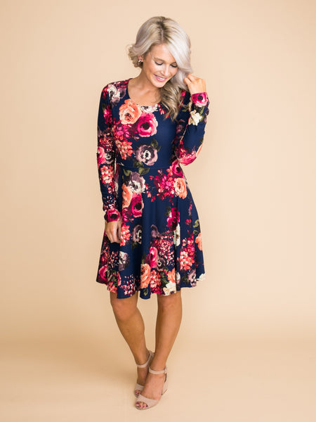 The Best Way To Go Floral Dress - Navy