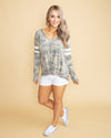 The Blogger Varsity Stripe V-Neck Top - Camo