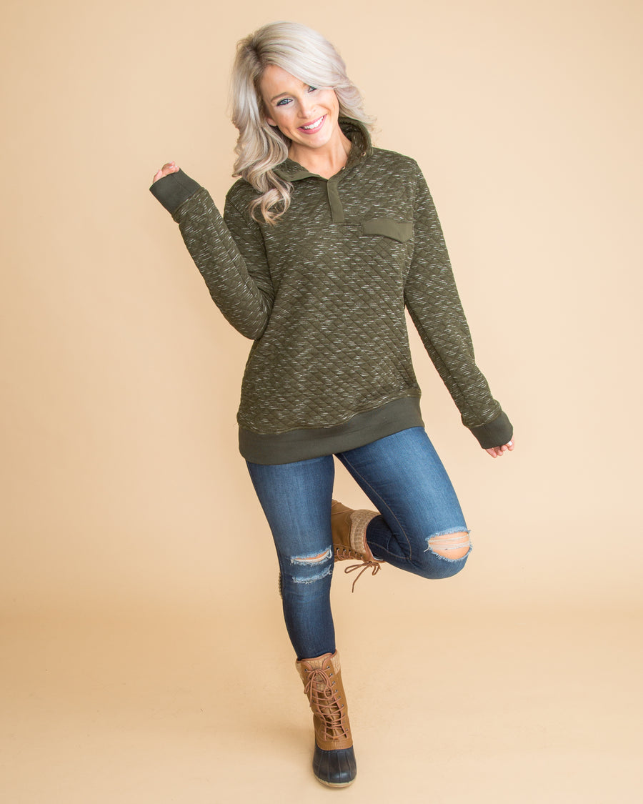 The Comfort We Love Quilted Pullover - Dark Olive
