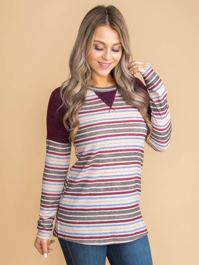 The Difference Is Stripe Color-Block Top - Purple