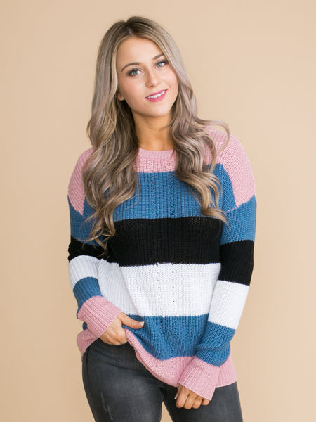 The First To Know Color-Block Sweater - Pink