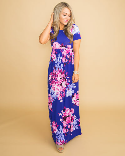 The Happiest Day Floral Maxi - Cobalt