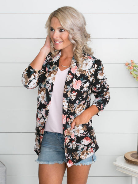 The Moment To Live For Floral Blazer - Black