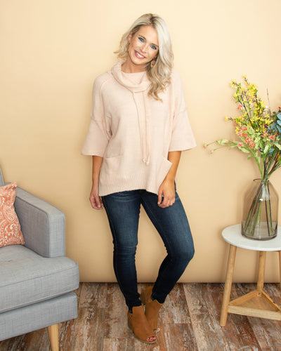 The Most Amazing Cowl Neck Pocket Top - Blush Cream