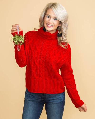 The Nice List Cable Knit Sweater - Red