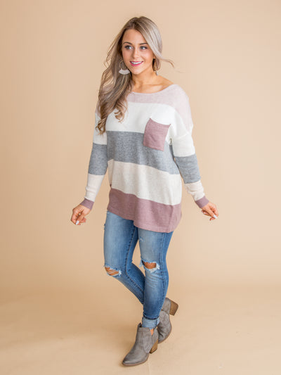 The Oh-So-Cute Color Block Pocket Sweater - Mauve