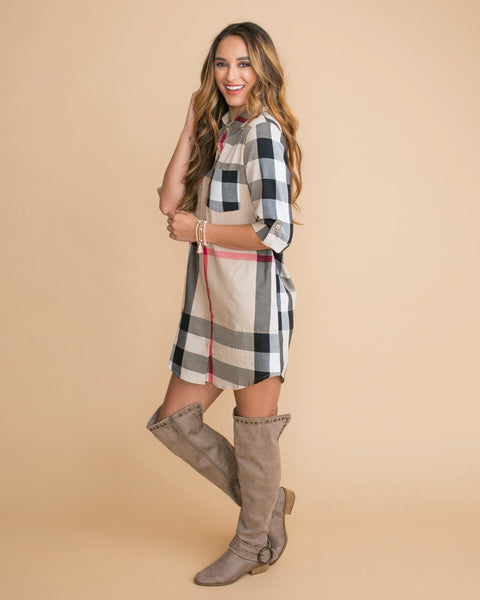 The Only One Plaid Tunic Dress - Tan
