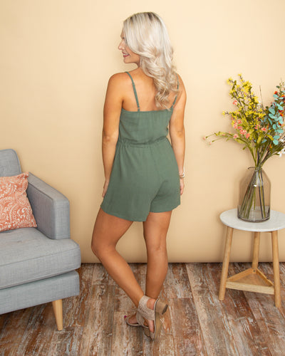 The Only Thing Better Button Romper - Sage