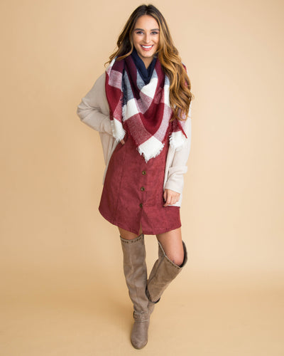 The Perfect Blanket Scarf - Burgundy/Navy