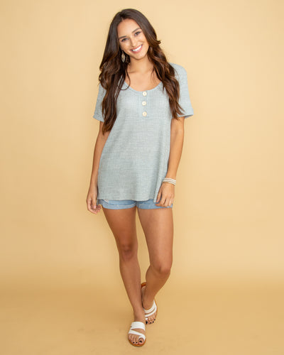 The Simple Life Waffle Knit Top - Grey