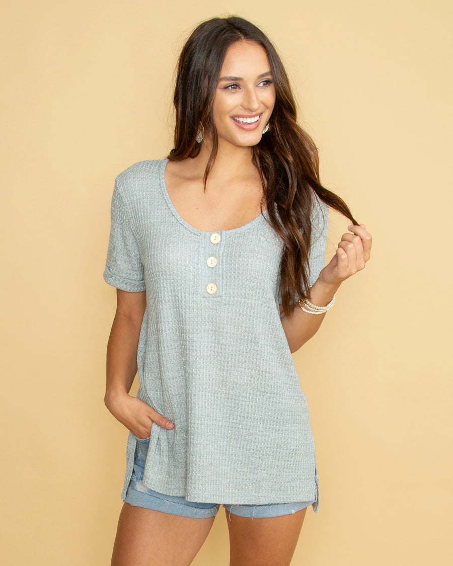 69821feb7300fb The Simple Life Waffle Knit Top - Grey