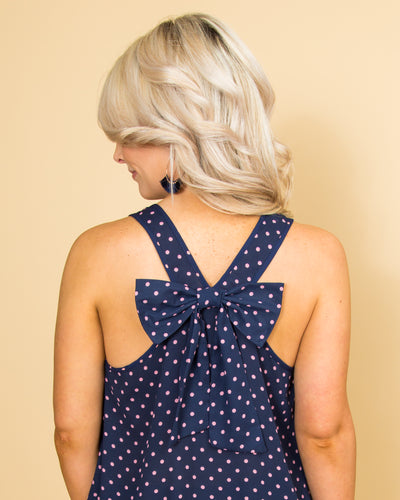 The Thought Of Love Polka Dot Tank - Navy