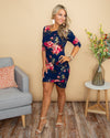 The Time Is Now Floral Side Ruching Dress - Navy