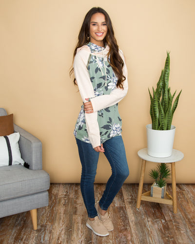 The Way To My Heart Floral Color-Block Double Hoodie - Cream