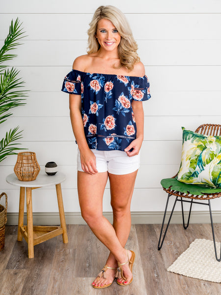 Then Came The Morning Off-Shoulder Top - Navy