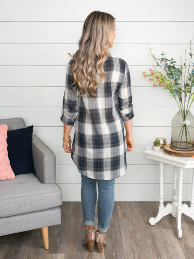 There's No Denying Love Lace Up Plaid Top - Navy
