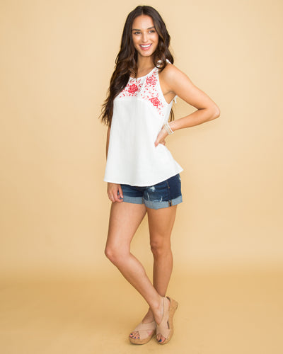 Think Of Us Embroidered Halter Top - Off White