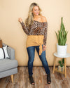 This Love For You Cheetah Print Stripe Knot Top - Toffee