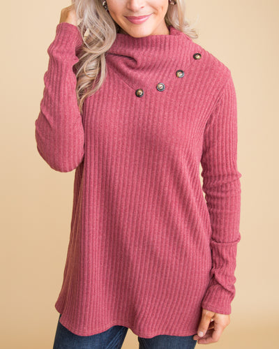 This Very Moment Button Top - Rose