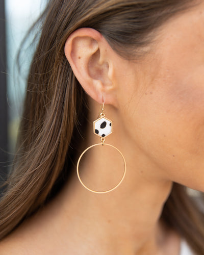 Tia Cow Print Hoops - Gold