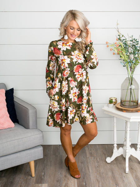 Time For Brunch Floral Dress - Olive