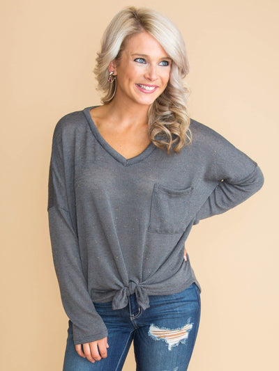 Time To Decide Knot Top - Charcoal