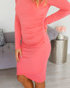 Flawlessly Flaunting Side Ruching Dress - Coral