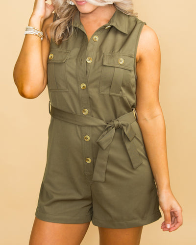 Touch Of Class Button Romper - Olive