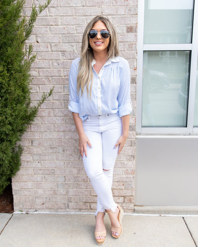 Traveling To Seaside Button Down Top - Light Blue/White