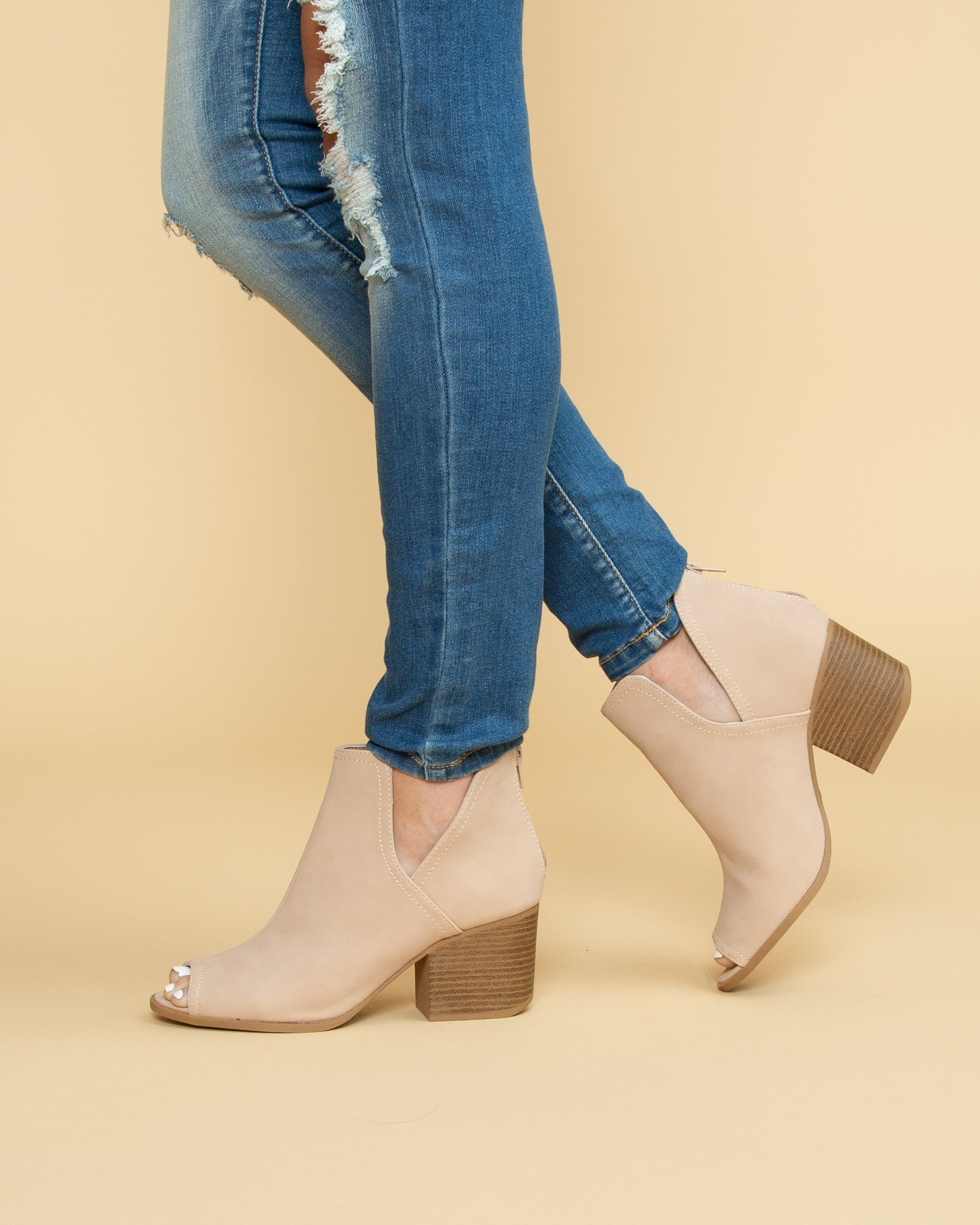 shop for structural disablities 2019 clearance sale Tristin Open Toe Bootie - Beige