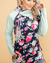 True Love's Floral Color-Block Double Hoodie - Mint