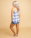 True To Love Plaid Draped Tank - Blue