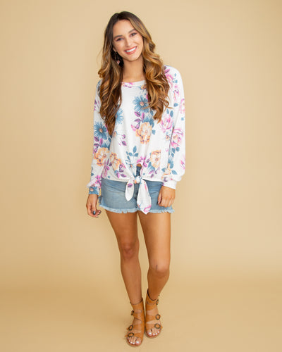 Truly Timeless Floral Tie Front Top