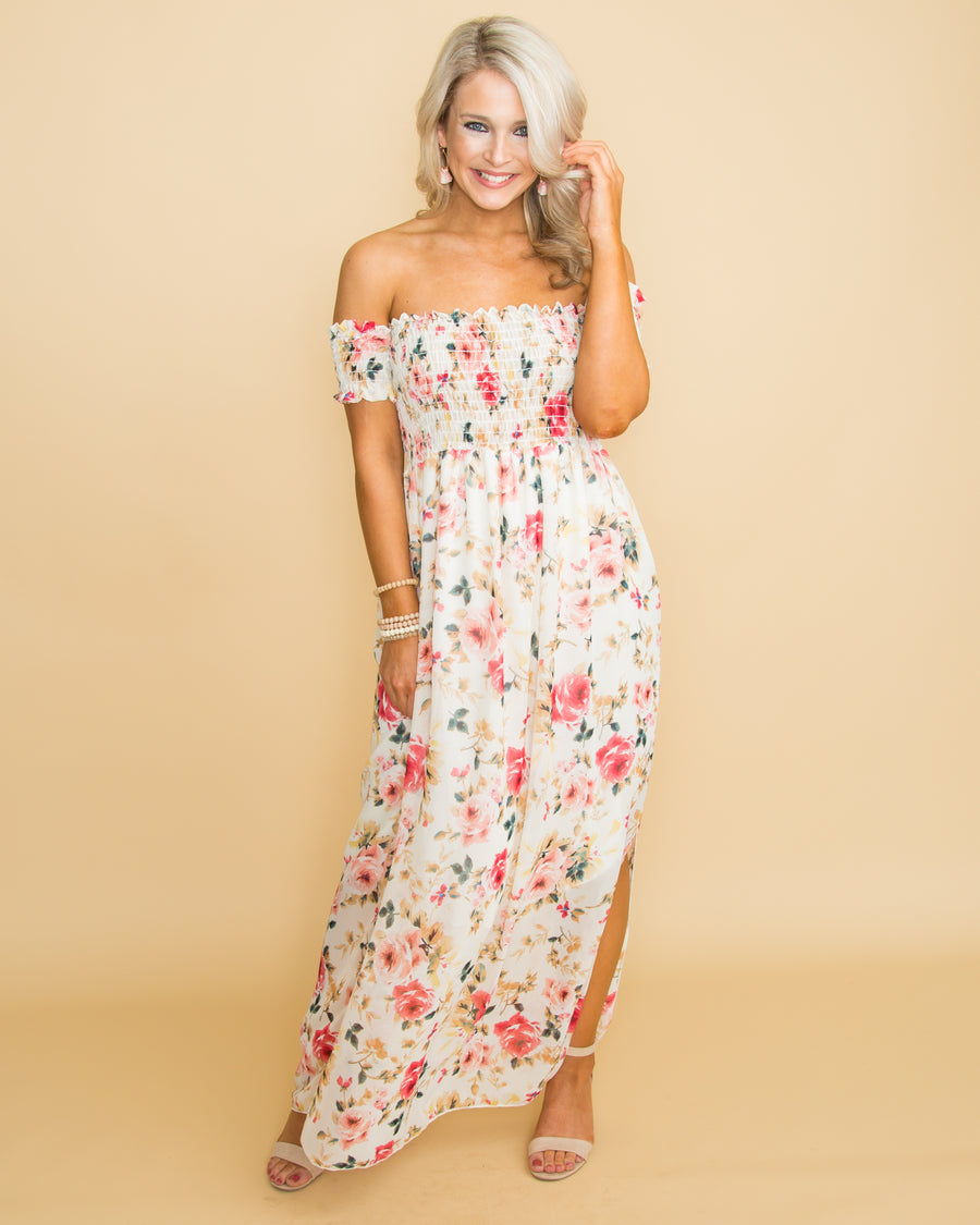 446bf0047508 Trust Your Heart Floral Off Shoulder Maxi - Cream