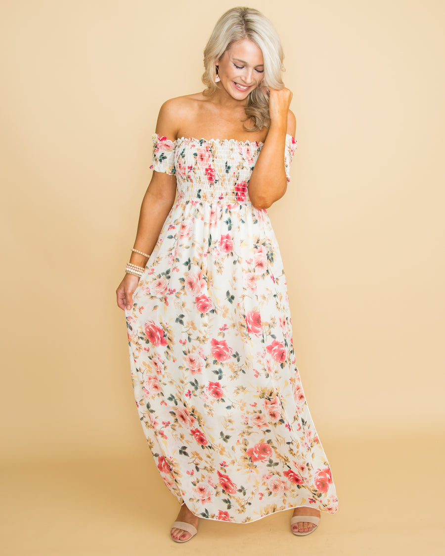 Trust Your Heart Floral Off Shoulder Maxi - Cream