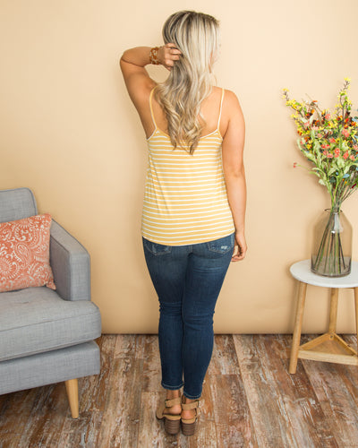 Trusted Heart Stripe Button Knot Tank - Mustard