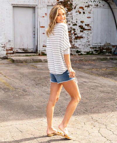 Try It Again Stripe Top - Grey/Off White
