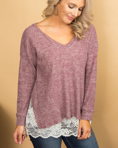 Turn On The Charm Top - Heather Burgundy