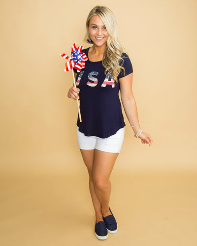 USA Babe Graphic Tee - Navy