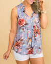 Unforgettable Summer Floral Button Top - Dusty Blue