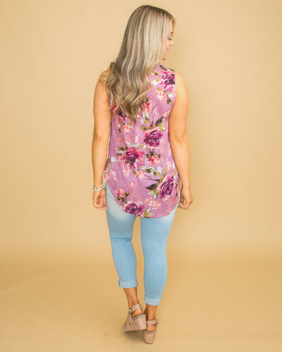 Unforgettable Summer Floral Button Top - Dusty Purple