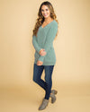 Uptown Beauty Chenille Lace Sweater - Sage