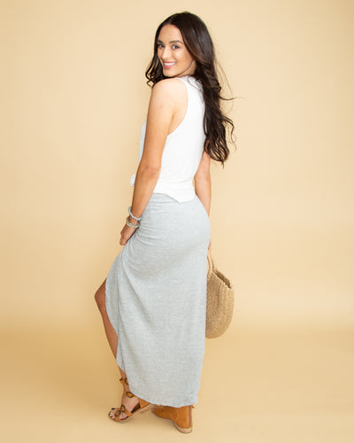 Vacay In Venice Twist Front Maxi Skirt - Lt Grey