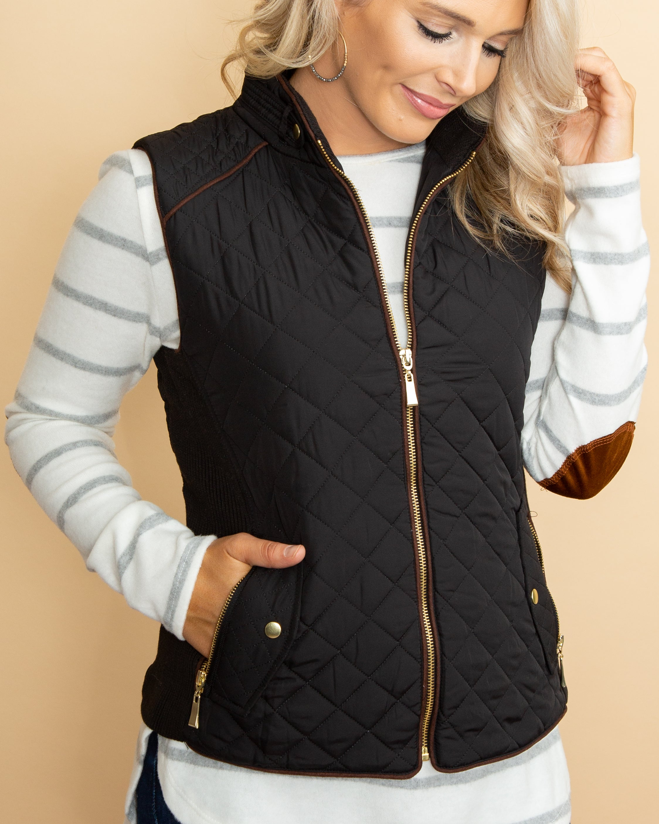 Vice Versa Quilted Vest - Black