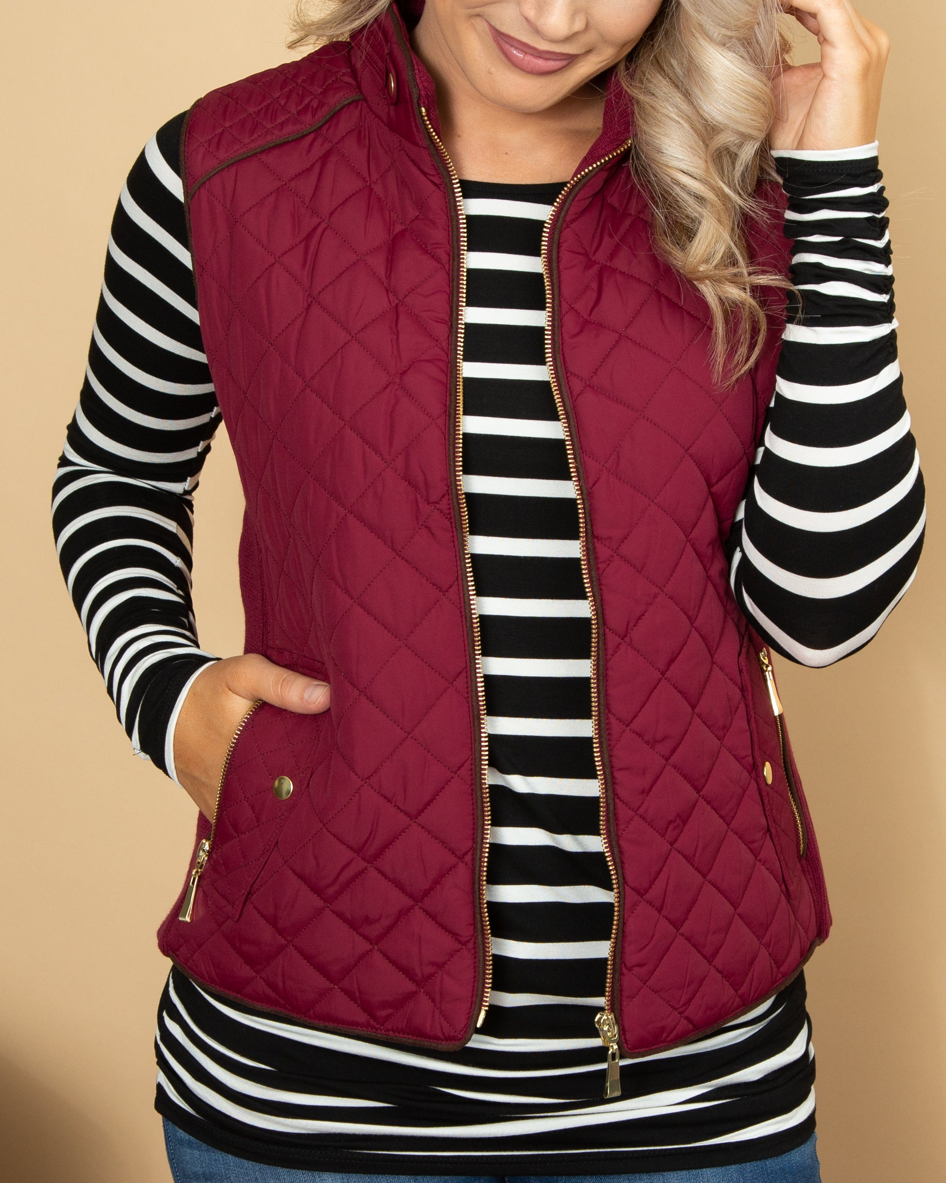 Vice Versa Quilted Vest - Burgundy