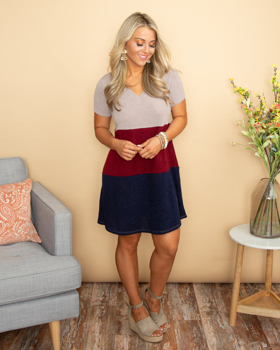 Waiting A Lifetime Color-Block Dress - Taupe